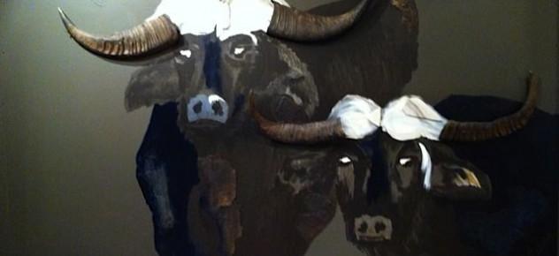Schilderij 2 buffels