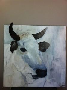 Schilderij koe zijkant