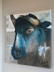 schilderij buffel blauw zijkant